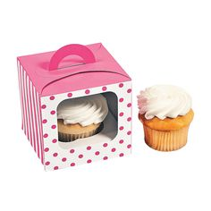 Candy Pink Polka Dot Cupcake Boxes with Handle - OrientalTrading.com  $5.00 per dozen 3 or more $4.50
