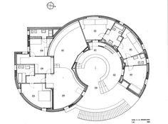 Plan for Casa Rotonda, La Maddalena, Sassari, in by… Landscape Architecture Design, Concept Architecture, Architecture Details, The Plan, How To Plan, Silo House, Kindergarten Design, Dome House, Round House