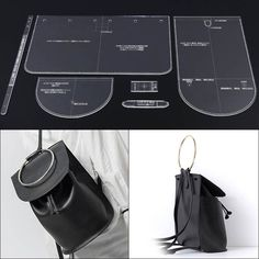 Womens shoulder strap bag Backpack design pattern model mold DIY manual leather printing acrylic acrylic plate template Source by maniquex Leather Bag Tutorial, Leather Bag Pattern, Leather Bags Handmade, Handmade Bags, Shoulder Strap Bag, Diy Molding, Leather Projects, Leather Crafts, Designer Backpacks