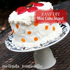Learn how to make this adorable and EASY DIY Mini Cake Stand with this step by step tutorial. Create several for parties or holidays.