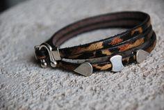 Bracelet cuir Leo Triple http://www.alittlemarket.com/boutique/mamalotl-573185.html