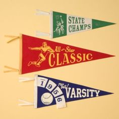 Kids' Banners & Hanging Décor: Kids Set of 3 Antique-Style Felt Sports Pennants Pennant Flags, Banner, Bunting, Baby Boy Rooms, Kids Rooms, Baby Store, School Spirit, Kid Spaces, Crate And Barrel