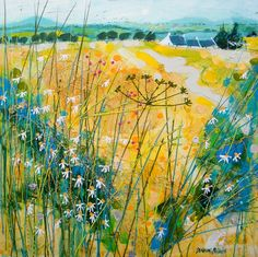 """Wiggle in the Field"" - by Deborah Phillips ~ Scottish Artist Watercolor Landscape, Abstract Landscape, Landscape Paintings, Abstract Format, Cow Parsley, Illustration Art, Illustrations, A Level Art, Naive Art"