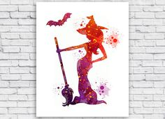 Witch Watercolor print Witch Printable Wall Art Witch by Toons4Fun