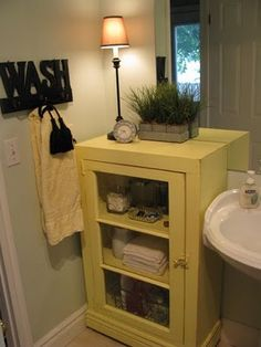 Cute idea for a small bathroom
