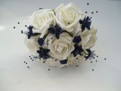 Artificial Roses Wedding Flowers Posy Bouquet in Ivory & Navy Blue