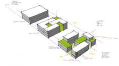 Mimari maket,eskiz ve pafta örnekleri. Example of Architectural Sketches and Models Architecture Concept Diagram, Architecture Sketchbook, Architecture Graphics, Architecture Portfolio, Social Housing Architecture, Conceptual Sketches, Conceptual Design, Parque Linear, Bubble Diagram