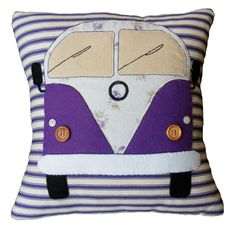 Camper van pillow cushion, purple appliqued felt and hand embroidery on stripey ticking fabric. Campervan