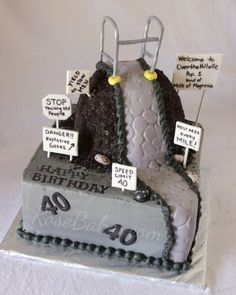 """""""Over the Hill"""" 40th Birthday Cake"""