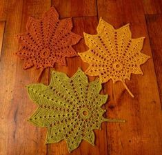INSPIRATION -- Set of 3 crochet leaf doilies - autumn decoration in green, yellow and brownThe Unknown Orchard: Fall Leaf PatternPurple lovebirds cushion with floral appliqued lovebirdsPale green aventurine handmade dangle earrings, green and silver earri Crochet Leaf Patterns, Crochet Leaves, Crochet Fall, Crochet Motifs, Doily Patterns, Crochet Home, Thread Crochet, Crochet Crafts, Crochet Doilies