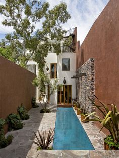 beautiful stone work & lap pool: creative design work for a narrow space.  // Great Gardens & Ideas //