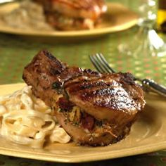 Pork Chops Stuffed with Smoked Gouda and Bacon...I added diced pears ...