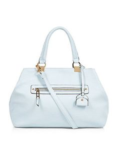 Pale Blue Zip Front Tote Bag  | New Look