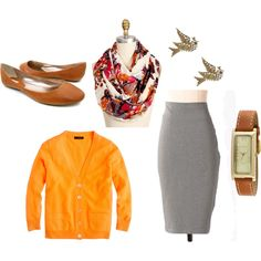Love the pop of orange and THAT SCARF! love it. :)