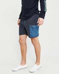 7ea7ffc9b4 Mens Colorblock Nylon-Blend Pull-On Shorts | Mens Bottoms | Abercrombie.com