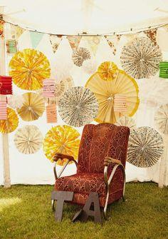 Paper rosette pin-wheels backdrop.
