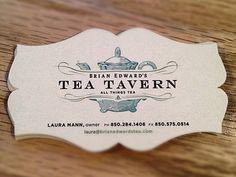 Tea Tavern Business card  by Benjamin Voran Follow    Love the custom die cut!