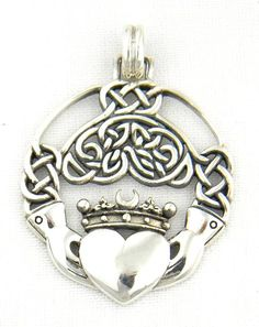Sterling Silver Celtic Claddagh Pendant Charm with Intricate Celtic Knot Work Irish - The Claddagh is an Irish symbol of friendship, love, and loyalty. Irish Jewelry, Silver Jewelry, Vintage Jewelry, Irish Celtic, Celtic Knot, Harris Tweed, Celtic Symbols, Rune Symbols, Celtic Designs