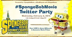 sponsored THE SPONGEBOB MOVIE: SPONGE OUT OF WATER TWITTER PARTY! #SpongeBobMovie Join Bloggin Mamas & @SpongeBobMovie as we host the #SpongeBobMovie Twitter Party on Wed, 2/4/15 at 9p EST! Join us as we celebrate the new film & talk about your favorite SpongeBob SquarePants characters!  Date: Wednesday, February 4, 2015  Time: 9:00-10:00pm EST / 6:00-7:00pm PST  Hashtag: #SpongeBobMovie  Presented by: @SpongeBobMovie,