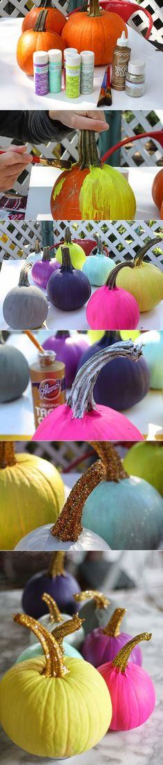 love, love, LOVE this...Painted Pumpkins with Glittered Stems...