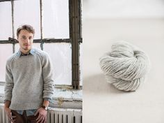 """Rift faux-raglan pullover with shoulder detailing by Jared Flood. Shown in color """"Snowbound"""". From Brooklyn Tweed's """"BT Men Volume 2"""" Collection. Photographed by Jared Flood. #btmenvolume2 #brooklyntweed #madeinUSA #shelteryarn #loftyarn #rift #pullover"""