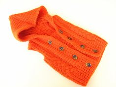Hooded Baby sweater Orange knit baby sweater New by ATLASKNITSHOP, $29.00
