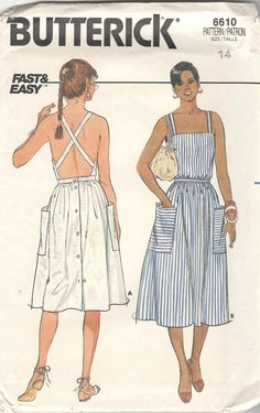 Butterick 6610, Misses Dress Pattern - Dress, below mid-knee or below mid-calf, has close-fitting bodice with straps (criss-cross in back), inset waistband, patch pockets and back-button closing. Fast & Easy Size: 12 Bust: 34 Waist: 26 1/2 Hip: 36 This pattern is cut and is complete. The
