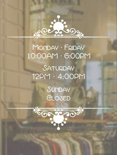 Business Hours Decal // Open to Close // Hours of Operation // Commercial Grade Premium Vinyl // Shop Signage, We Are All Human, Window Signs, Drink Signs, Store Windows, Window Decals, Are You Happy, Best Quotes, Commercial
