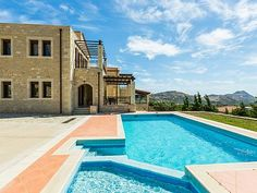 Rethymno villa rental - The pool features a special children's compartment! Villa, Thalia, Camping, Private Pool, Location, Strand, Swimming Pools, Beach, Outdoor Decor