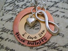 Hand Stamped Custom I Love You Times by DanielleJoyDesigns on Etsy, $27.00