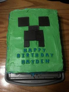 Minecraft birthday cake! Green frosting and Godiva chocolate squares = creeper!