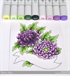 Copic Marker Tutorial Purple Mums by: Marker Kunst, Copic Marker Art, Copic Sketch Markers, Copic Pens, Copic Markers Tutorial, Colored Pencil Techniques, Color Of The Day, Coloring Tutorial, Alcohol Markers