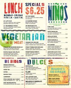 Maudie's Restaurant menu. #menu