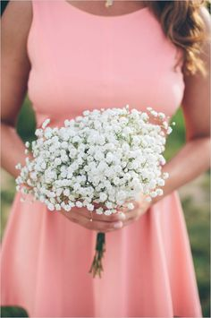 Simple baby's breath bouquet for rustic wedding bridesmaid.  Floral Design: The Flowerman.