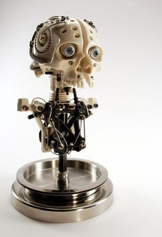 MINIATURE ROBOTIC CYBORG SKULL TITLED CYNTHETIC V1 BY ARTIST CHRISTOPHER CONTE