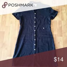 Talbots navy blue button up dress size 6 Talbots navy blue button up dress size 6. 55 percent linen 45 percent rayon  this is really cute and great condition like new Talbots Dresses