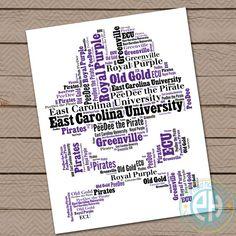 ECU  East Carolina   Mascot Wall Art  Office by printedhappiness