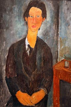 Chaim Soutine by Amedeo Modigliani  for more Amedeo Modigliani oil paintings please visit http://www.painting-in-oil.com/artworks-Modigliani-Amedeo.html