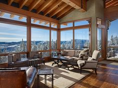 Stunning views in this living space. Great inspiration for a ski lounge. Yellowstone Club Residence by Krannitz Gehl Architects Home Interior Design, Exterior Design, Interior And Exterior, Beautiful Architecture, Interior Architecture, Yellowstone Club, Berry College, Into The West, Porches