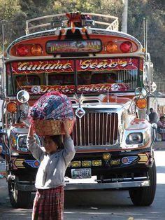 "#Xela (Quetzaltenango) bus, #Guatemala  by Jorge Mario García ........................................................... www.globe-tripper... | ""Home-made Hospitality"" | #GlobeTripper"