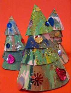 Spin art Christmas trees....