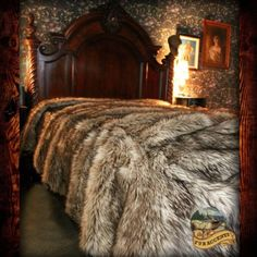 Premium Faux Fur Tan Gray Wolf Throw Blanket Bedspread or Fur Comforter, Faux Fur Bedding, Dream Bedroom, Master Bedroom, Bedroom Decor, Bedroom Ideas, Cuisines Design, Kid Beds, Bed Spreads
