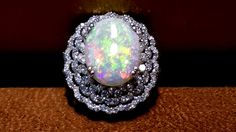 Genuine Large Australian opal 7.00CT and Diamonds 18K white gold Ring #Cocktail