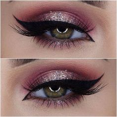 Burgundy and Champagne - Pretty Holiday Party Beauty Looks - Photos