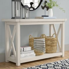36 Popular Farmhouse Sofa Table Design Ideas For Your Living Room Decor Table Console Blanche, White Console Table, Console Tables, White Entry Table, White Sofa Table, Rustic Entry Table, Tall Table, Consoles, Plywood Furniture