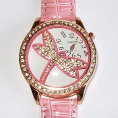 New Rose Gold Pink Croc Band DRAGONFLY Bling Watch  #HuaQing #Fashion