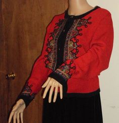 Vintage Red Button Down Sweater / 1980's / Large / Umi Collections Anne Crimmins / Knitwear. $35.00, via Etsy.