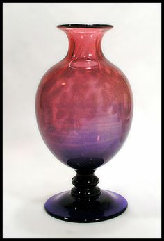 """Edward Hald for Orrefors  Unique hand blown """"Graal"""" vase in pink and blue glass, 1917"""