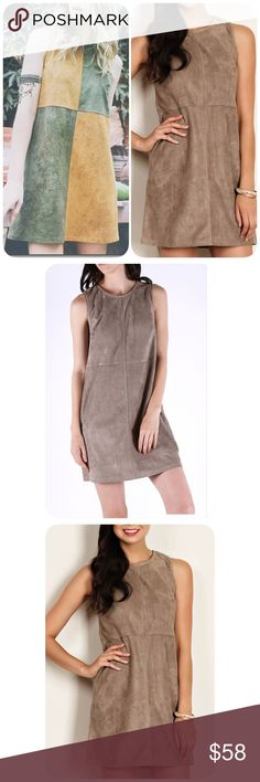 Taupe Suede Mini Dress🌻🌿 New. Excellent quality, super soft suede like material mini dress. Color is Taupe.  Different sizes available! Boutique Dresses Mini