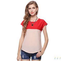New fashion ladies chiffon shirt color stitching loose short sleeved subcoating CC2806